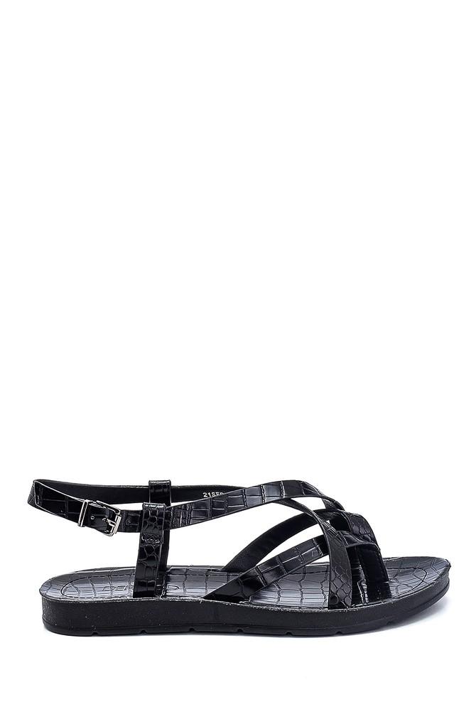 Siyah Kadın Kroko Baskılı Casual Sandalet 5638263184