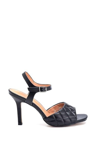 Siyah Kadın Kapitone Casual Topuklu Sandalet 5638263517