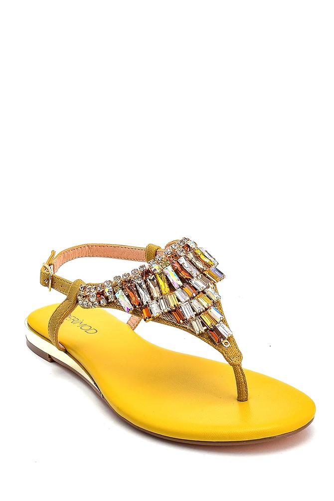 5638267249 Kadın Taş Detaylı Renkli Sandalet