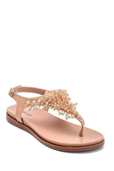 Bej Kadın Boncuk Detaylı Deri Sandalet 5638266296