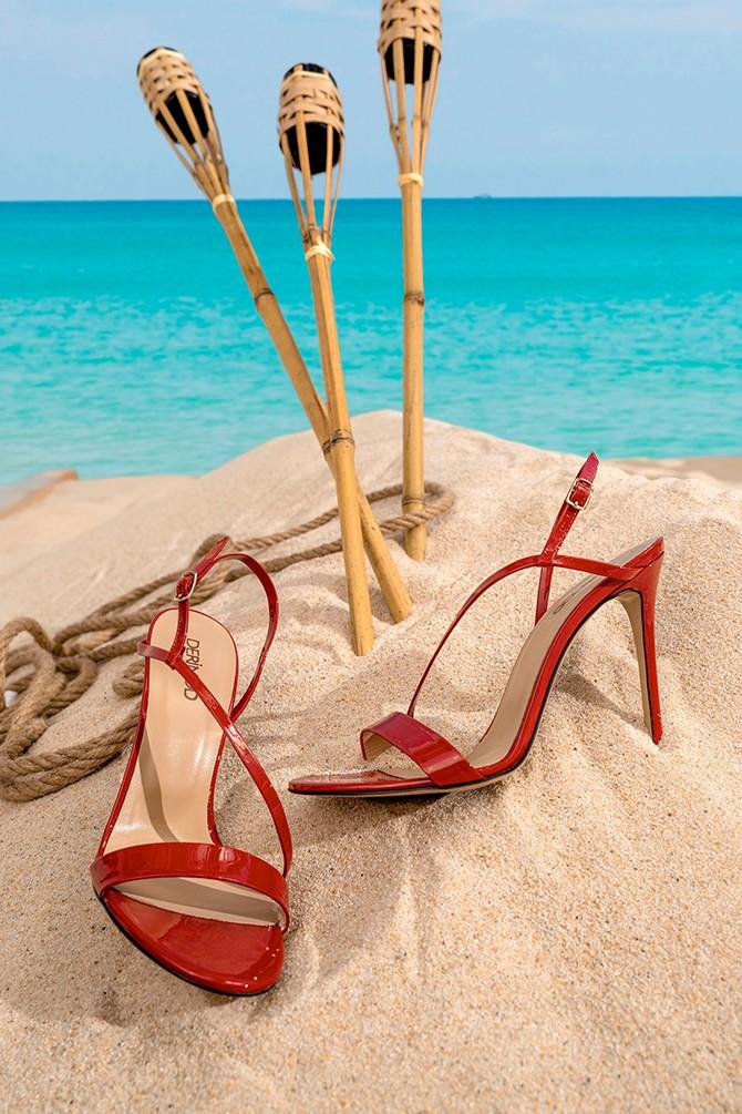Kırmızı Kadın Rugan Deri Topuklu Sandalet 5638297432