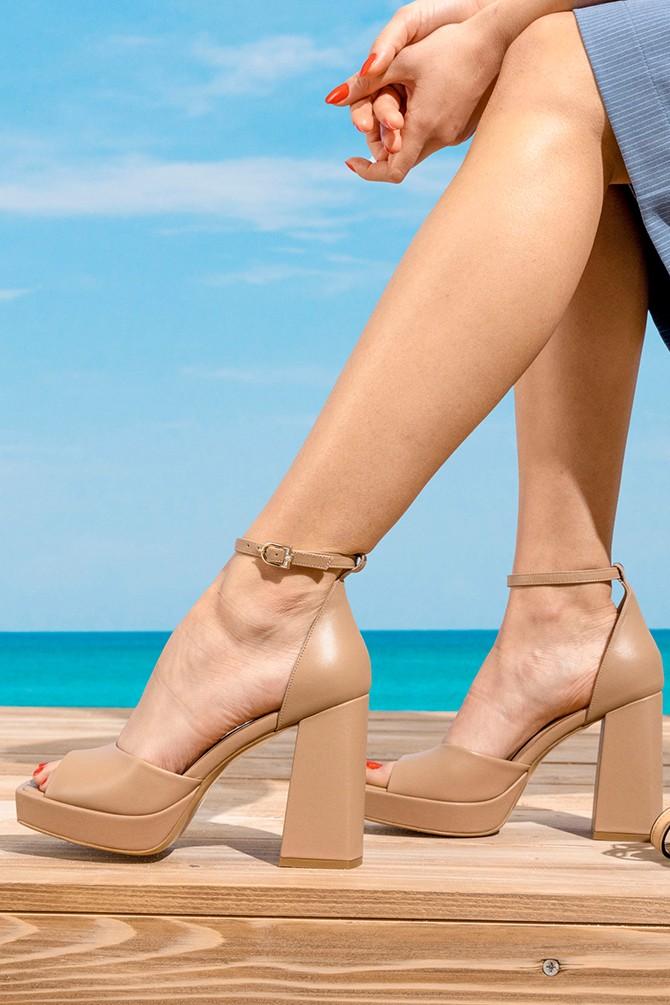 Bej Kadın Deri Yüksek Topuklu Sandalet 5638297459