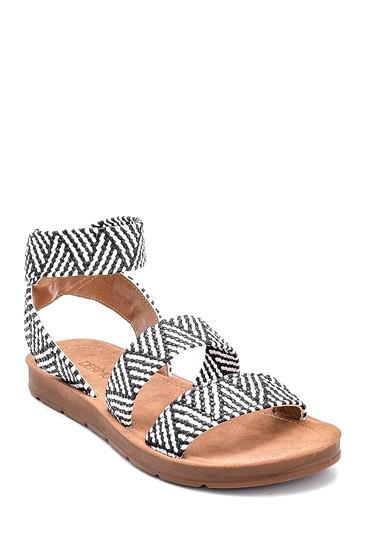 Siyah Kadın Kumaş Detaylı Sandalet 5638262272