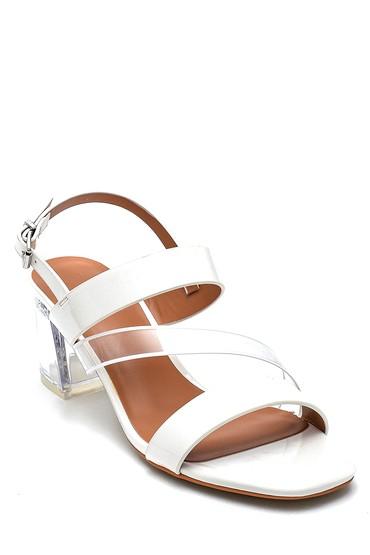 Beyaz Kadın Casual Şeffaf Topuklu Sandalet 5638262500