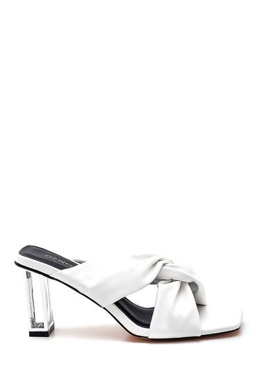 Beyaz Kadın Casual Topuklu Terlik 5638267097