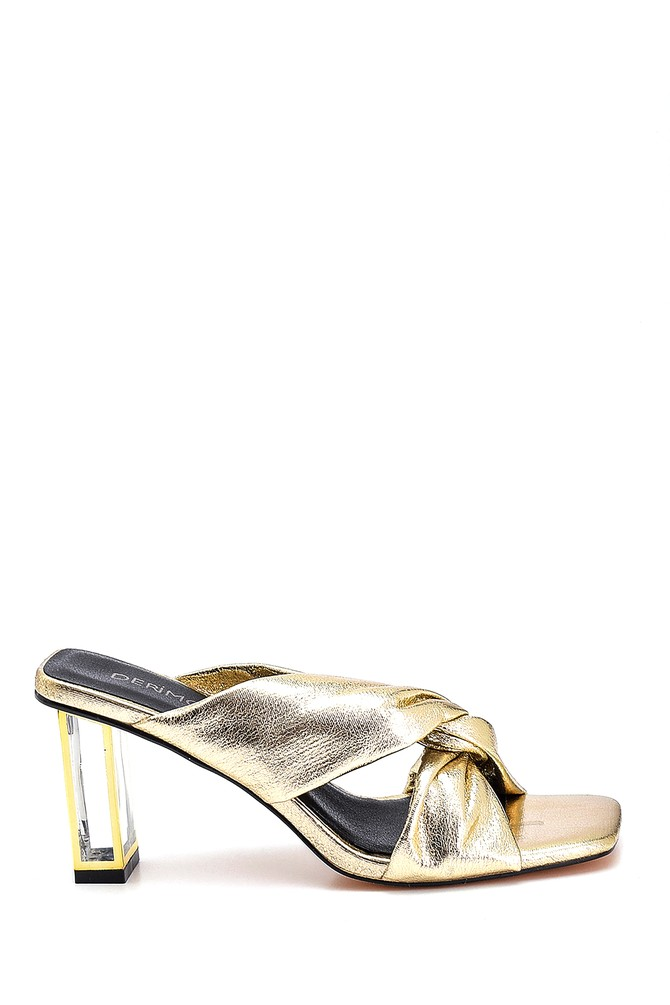 Altın Kadın Casual Topuklu Terlik 5638267107
