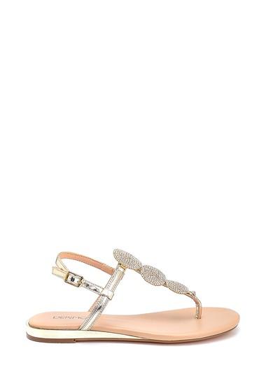 Altın Kadın Casual Taş Detaylı Sandalet 5638267268