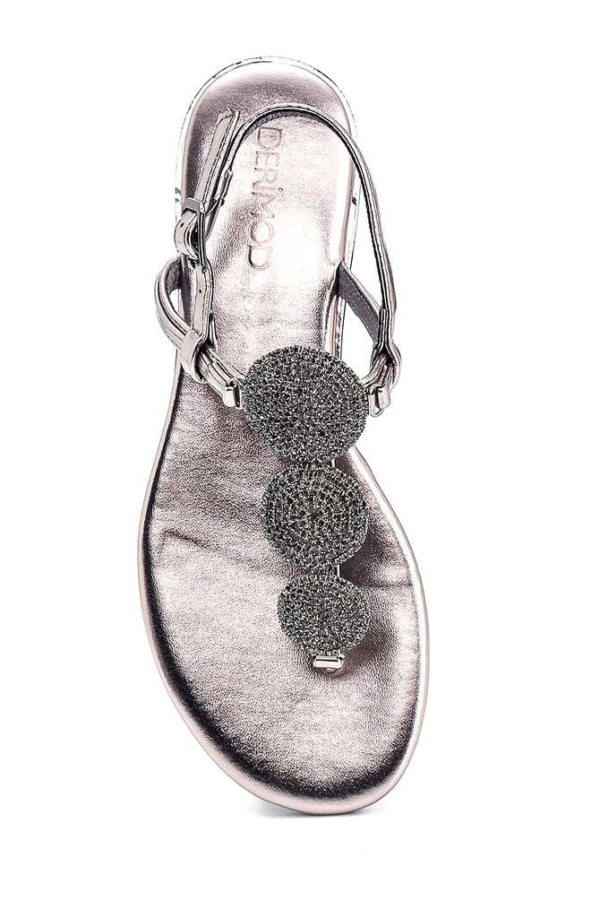 5638267269 Kadın Casual Taşlı Sandalet