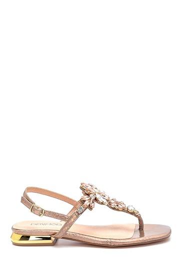 Bej Kadın Casual Taş Detaylı Sandalet 5638267301