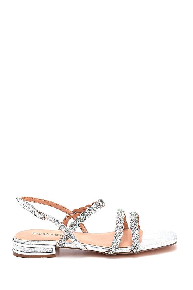 Gümüş Kadın Casual Taşlı Sandalet 5638267310