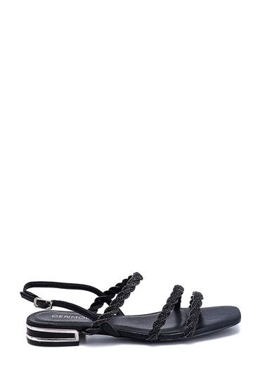 Siyah Kadın Casual Taş Detaylı Sandalet 5638267308
