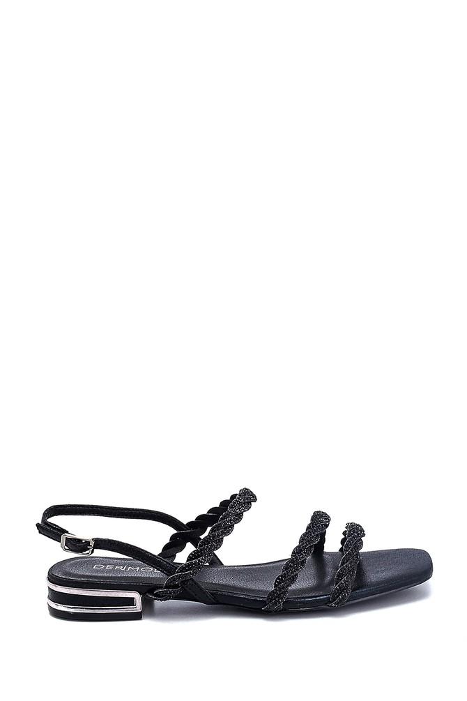 Siyah Kadın Casual Taşlı Sandalet 5638267308