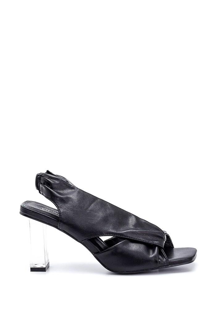 Siyah Kadın Şeffaf Topuk Detaylı Sandalet 5638267355