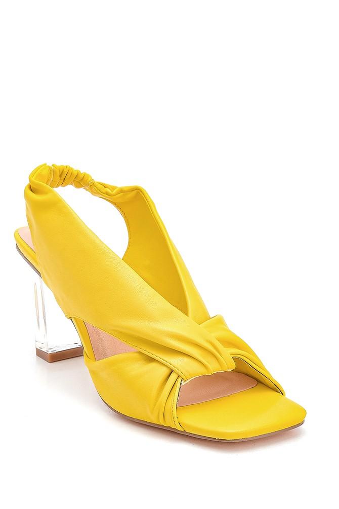 5638267356 Kadın Şeffaf Topuk Detaylı Sandalet