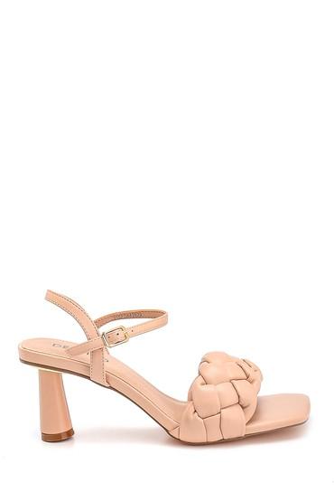 Bej Kadın Örgü Detaylı Topuklu Sandalet 5638267394