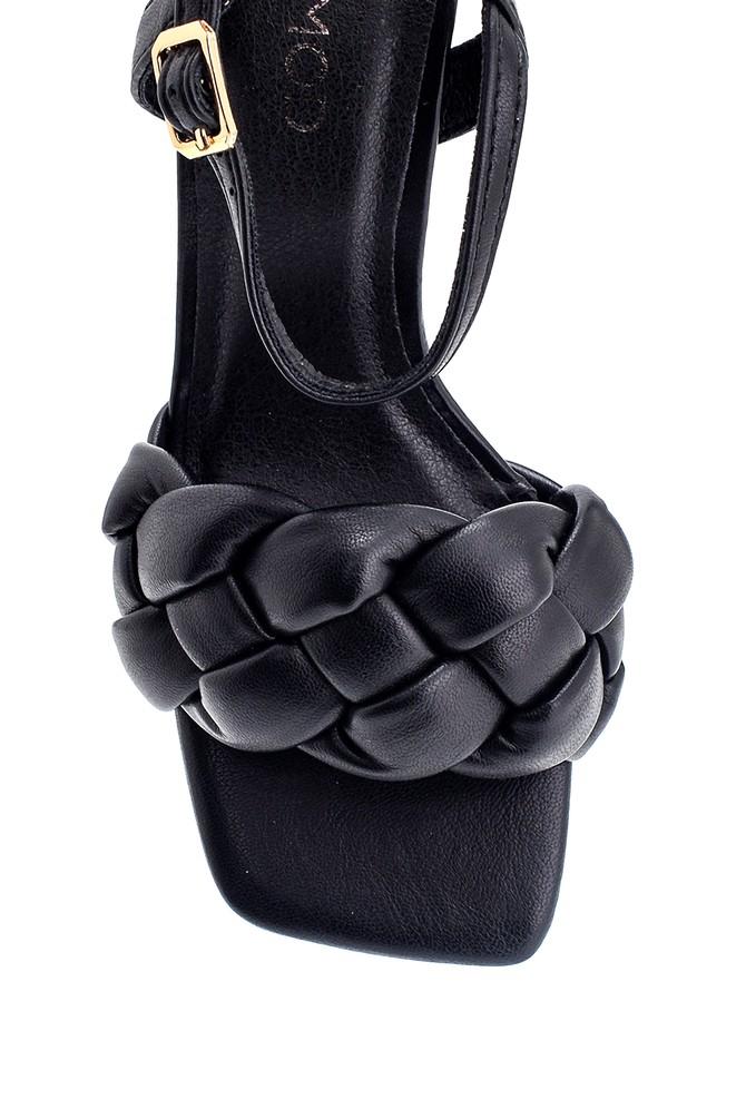 5638267396 Kadın Örgü Detaylı Topuklu Sandalet