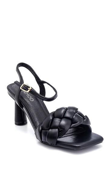 Siyah Kadın Örgü Detaylı Topuklu Sandalet 5638267396