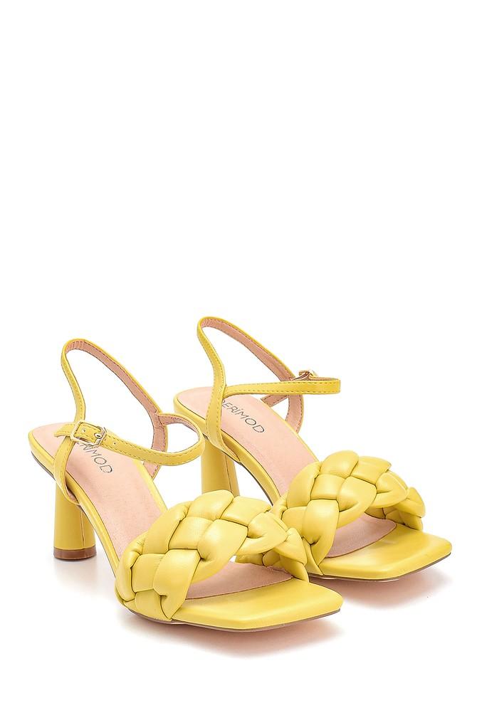 5638267398 Kadın Örgü Detaylı Topuklu Sandalet