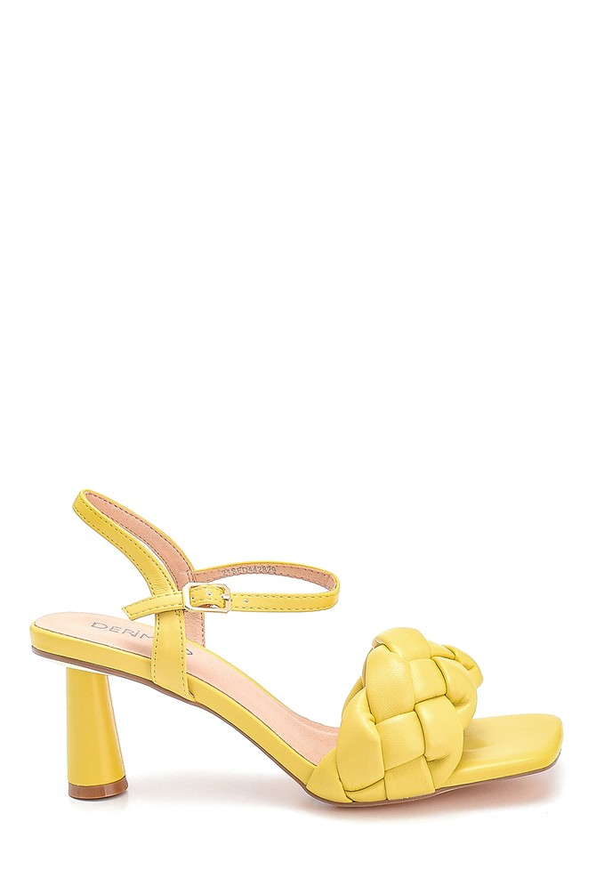 Sarı Kadın Örgü Detaylı Topuklu Sandalet 5638267398