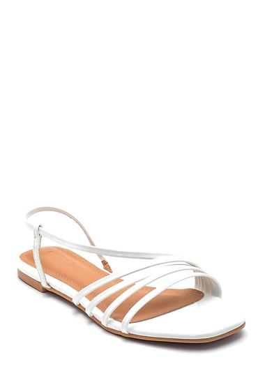 Beyaz Kadın Casual Rugan Sandalet 5638268595