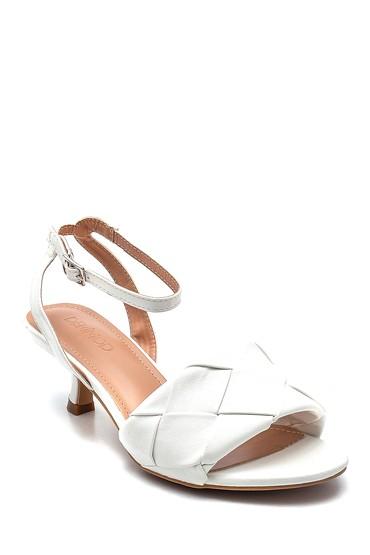 Beyaz Kadın Örgü Detaylı Topuklu Sandalet 5638268655