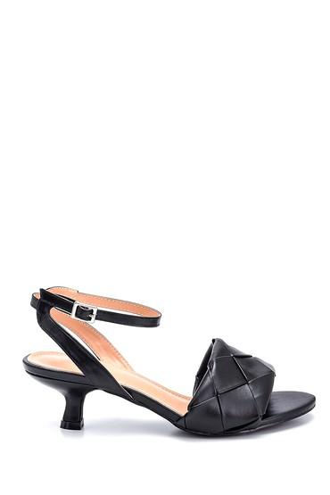 Siyah Kadın Örgü Detaylı Topuklu Sandalet 5638268659