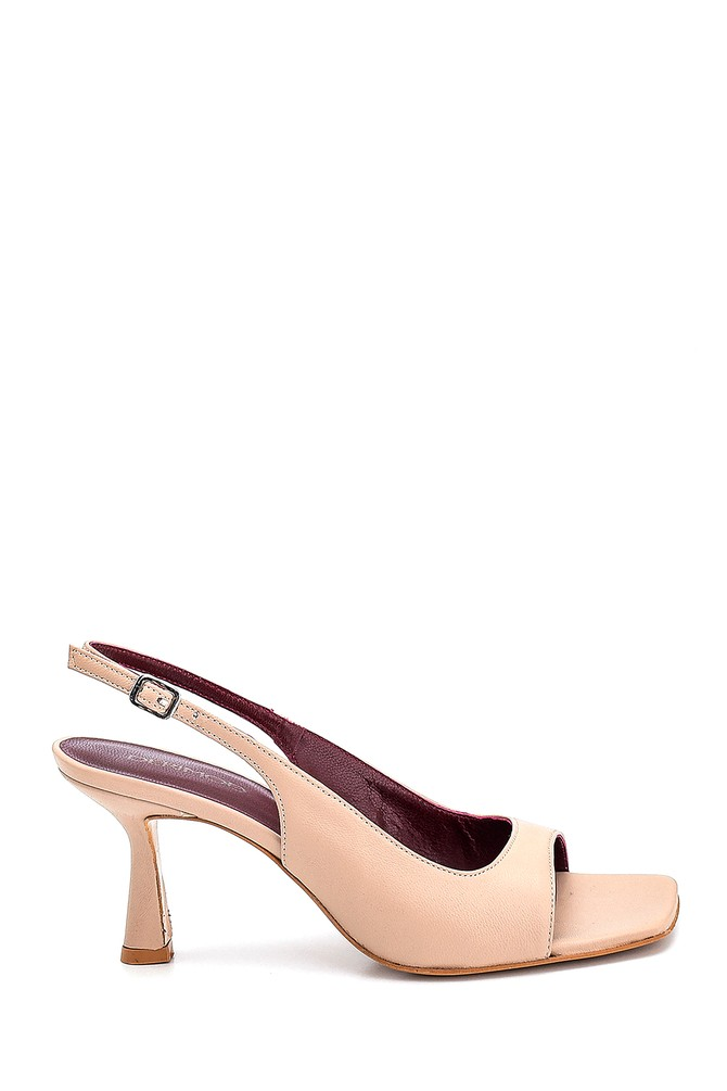 Bej Kadın Topuklu Deri Sandalet 5638286973