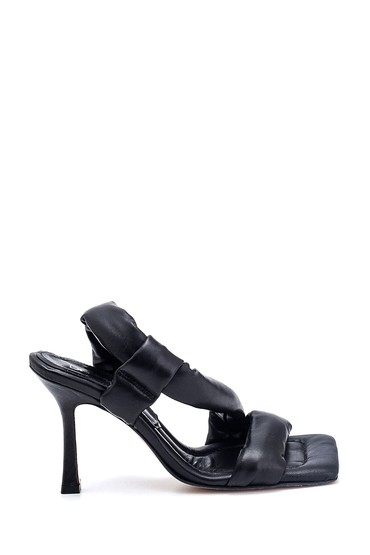 Siyah Kadın Casual Topuklu Deri Sandalet 5638286994