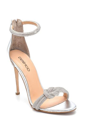 Gümüş Kadın Yüksek Topuklu Deri Sandalet 5638287049
