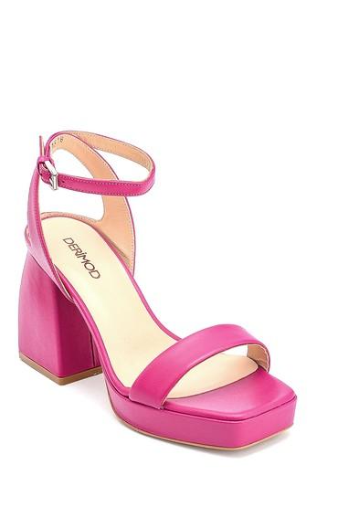 Pembe Kadın Platform Topuklu Deri Sandalet 5638290580