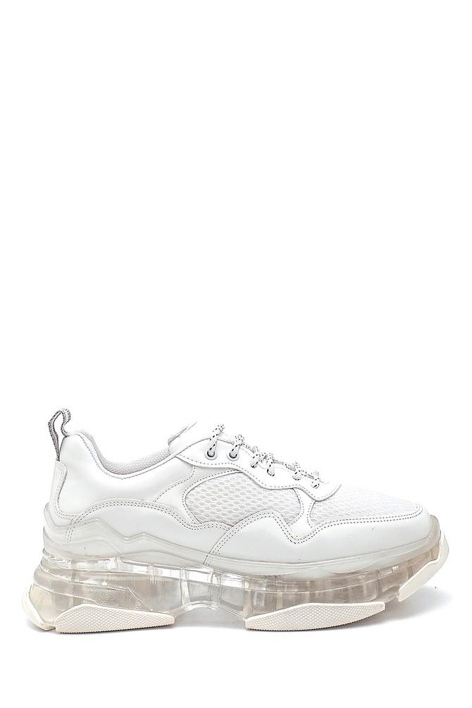 Beyaz Kadın Şeffaf Taban Detaylı Sneaker 5638294411