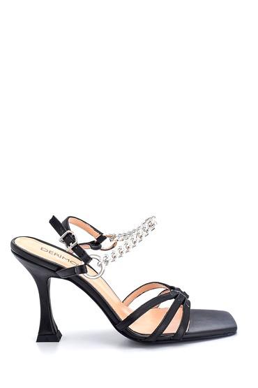 Siyah Kadın Casual Topuklu Deri Sandalet 5638297540
