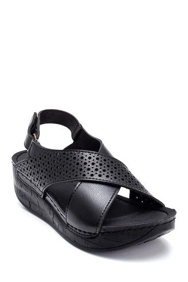 Siyah Kadın Casual Dolgu Topuk Sandalet 5638299615
