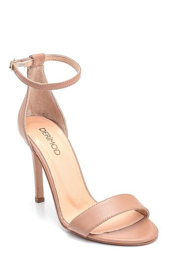 Pembe Kadın Casual Topuklu Deri Sandalet 5638297498