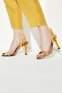 5638258571 Kadın Ahşap Misket Topuklu Sandalet