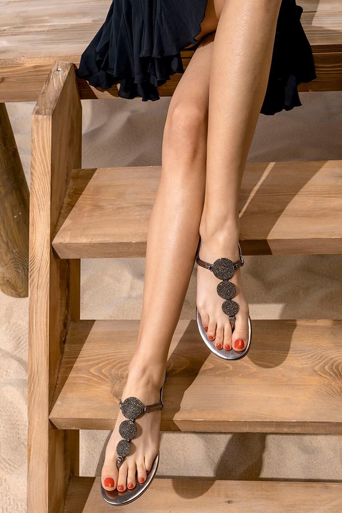 Antrasit Kadın Casual Taşlı Sandalet 5638267269