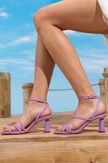 Lila Kadın Casual Topuklu Sandalet 5638267374