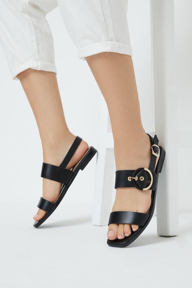 Siyah Kadın Deri Sandalet 5638266340