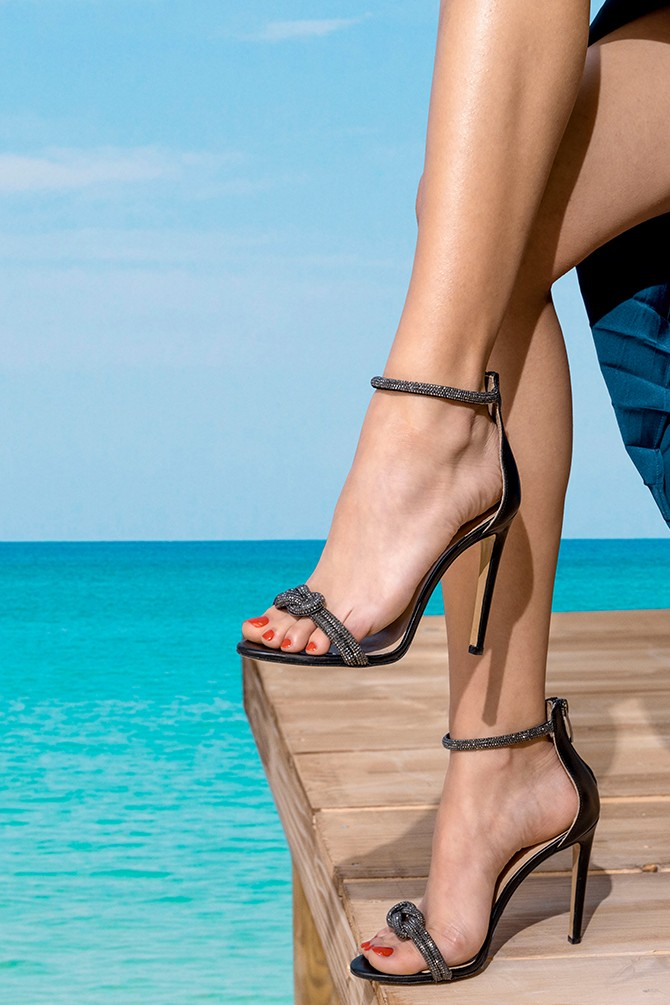 Siyah Kadın Yüksek Topuklu Deri Sandalet 5638287047