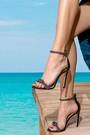 5638287047 Kadın Yüksek Topuklu Deri Sandalet