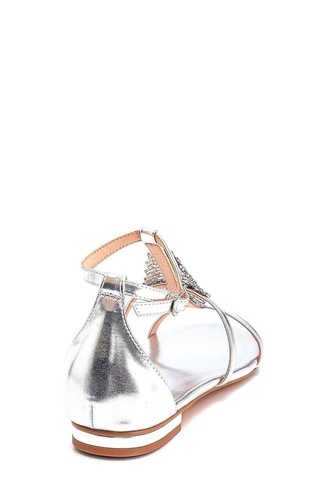 5638135216 Kadın Taş Detaylı Casual Sandalet