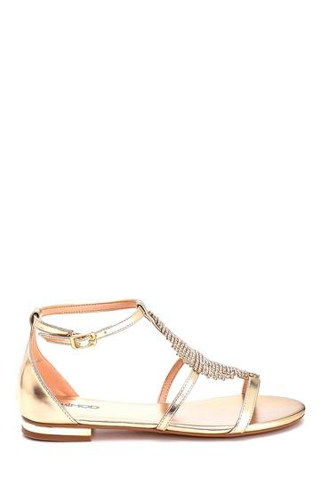 Altın Kadın Taş Detaylı Casual Sandalet 5638135214