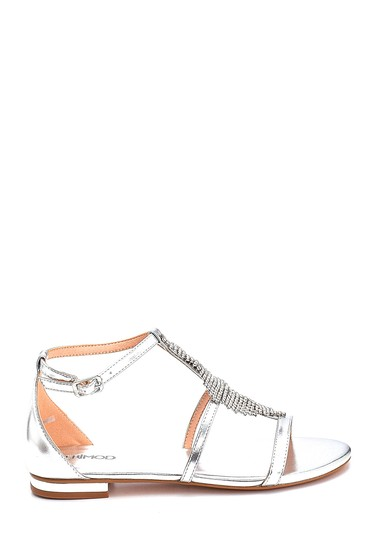 Gümüş Kadın Taş Detaylı Casual Sandalet 5638135216