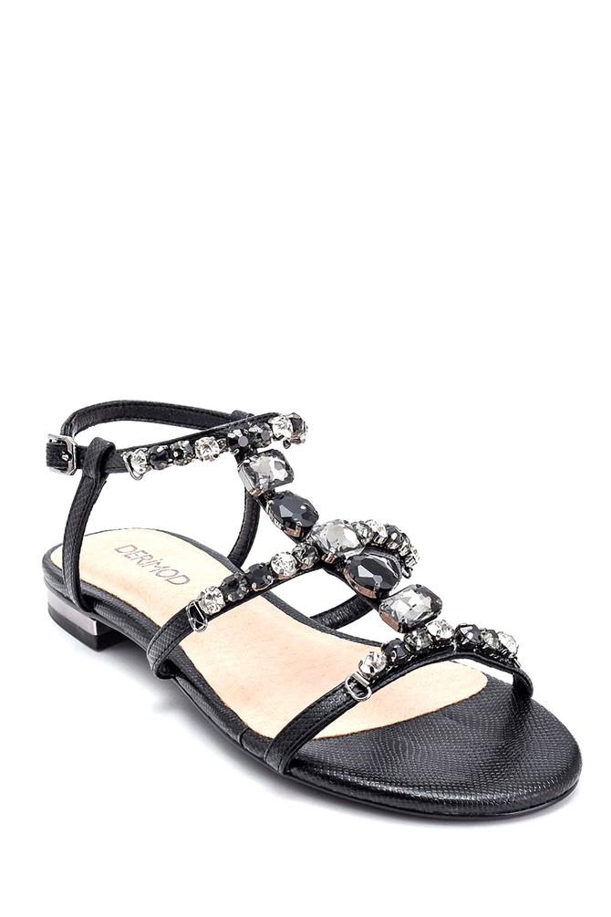 5638135343 Kadın Taş Detaylı Casual Sandalet