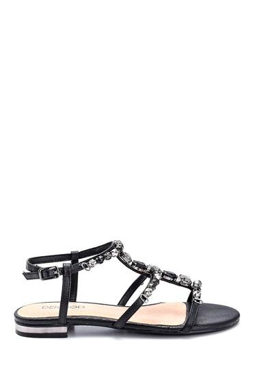 Siyah Kadın Taş Detaylı Casual Sandalet 5638135343