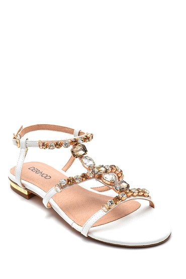 Beyaz Kadın Taş Detaylı Casual Sandalet 5638135344