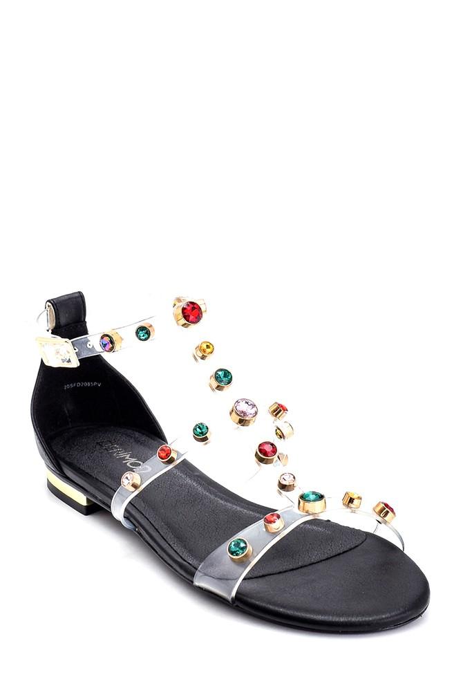 5638135670 Kadın Taş Detaylı Casual Sandalet