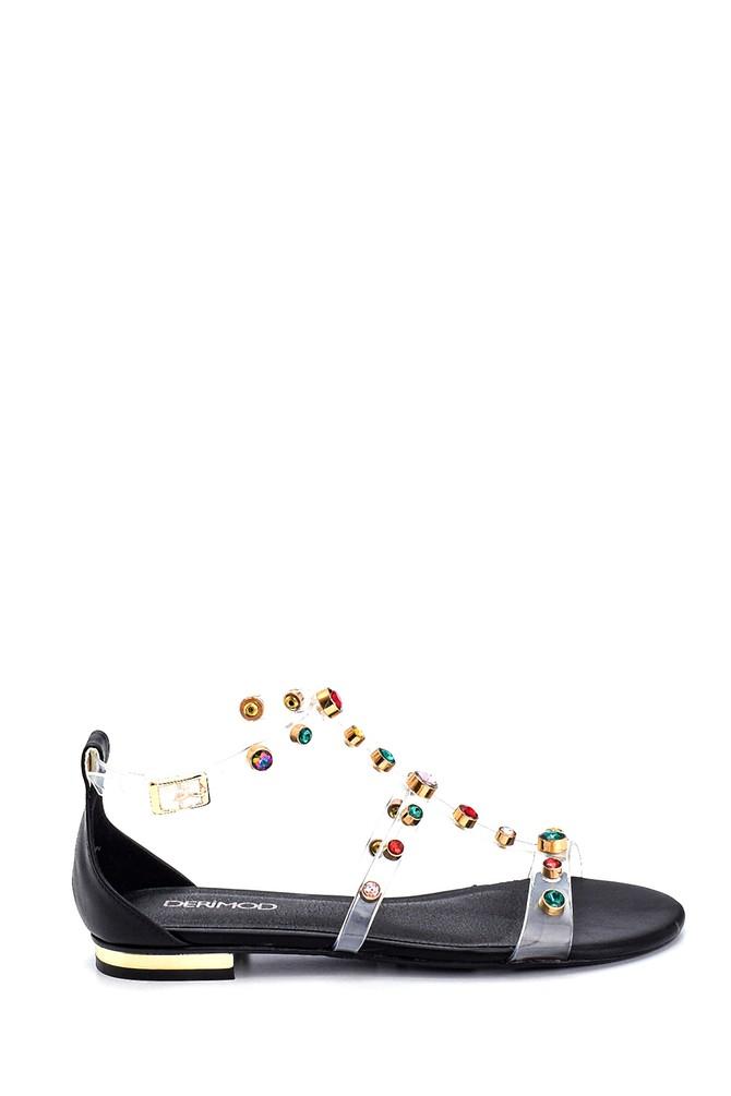 Siyah Kadın Taş Detaylı Casual Sandalet 5638135670