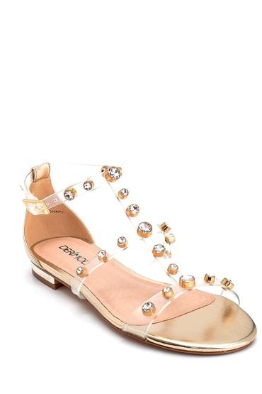 Altın Kadın Taş Detaylı Casual Sandalet 5638135671
