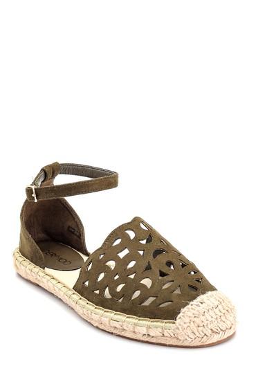 Haki Kadın Hasır Tabanlı Sandalet 5638135909